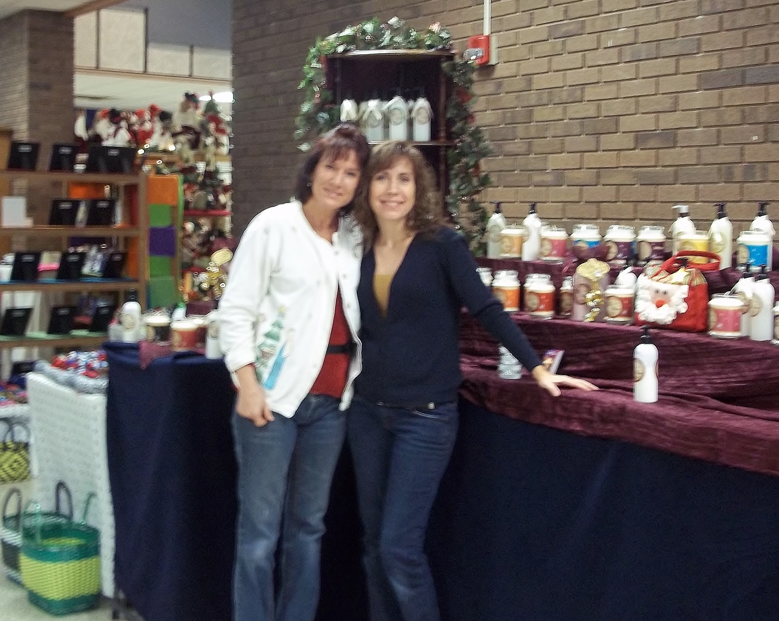 Lisa and Brenda with soy christian candles